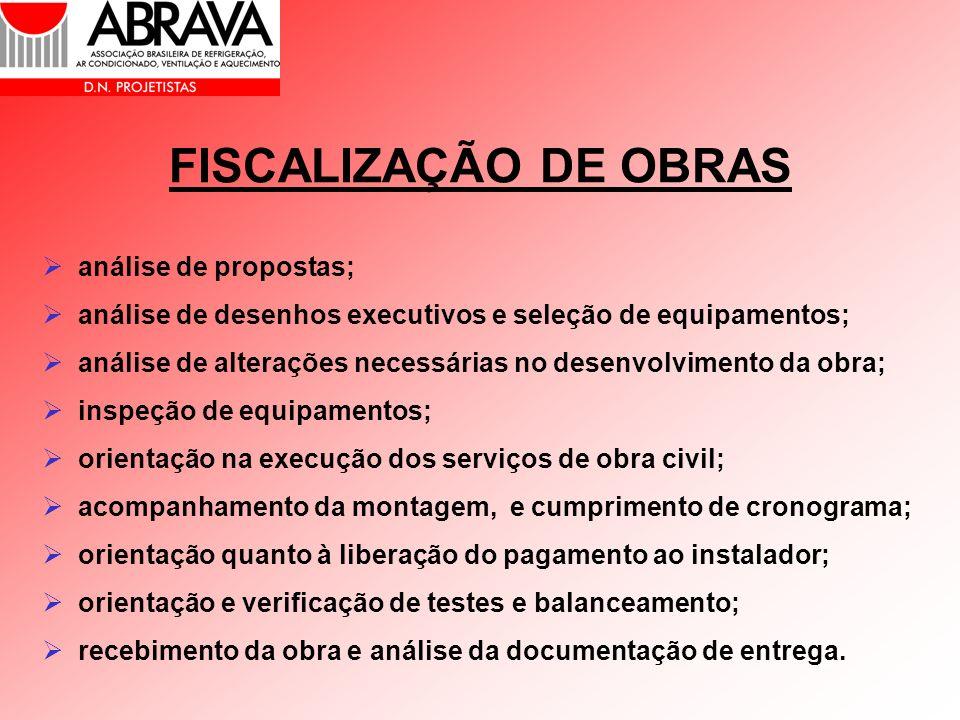 FISCALIZAÇÃO DE OBRAS análise de propostas; análise de desenhos executivos e seleção de equipamentos; análise de alterações necessárias no desenvolvim