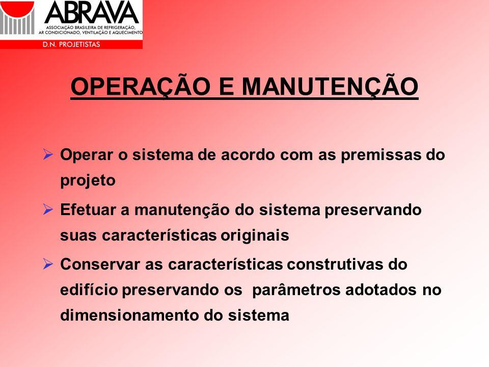 OPERAÇÃO E MANUTENÇÃO Operar o sistema de acordo com as premissas do projeto Efetuar a manutenção do sistema preservando suas características originai