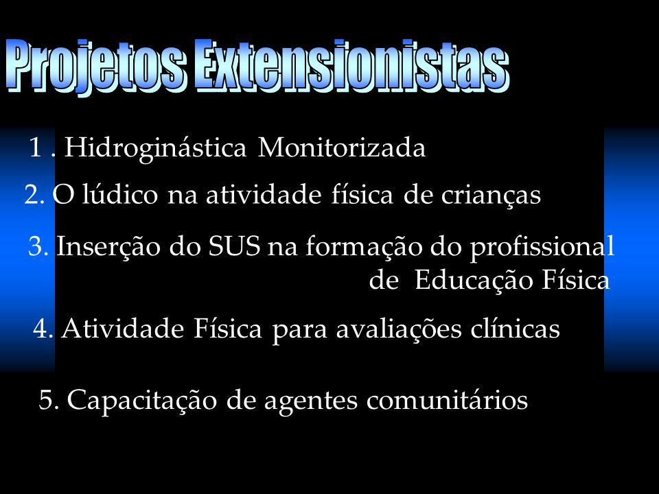 1. Hidroginástica Monitorizada 2. O lúdico na atividade física de crianças 3. Inserção do SUS na formação do profissional de Educação Física 4. Ativid