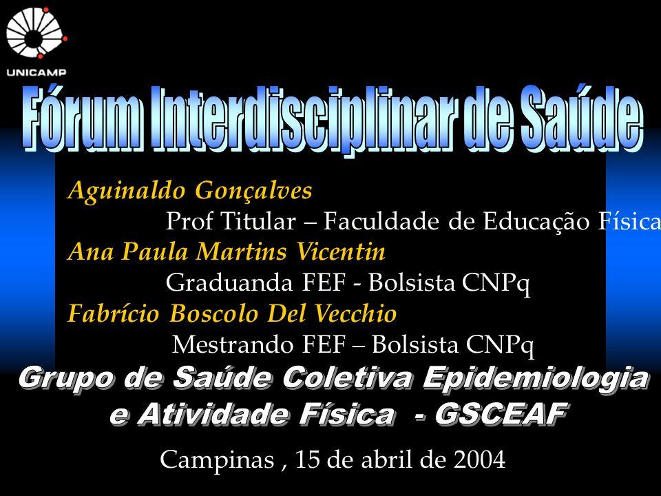 Aguinaldo Gonçalves Prof Titular – Faculdade de Educação Física Ana Paula Martins Vicentin Graduanda FEF - Bolsista CNPq Fabrício Boscolo Del Vecchio