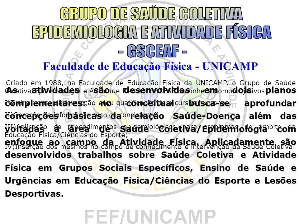 Faculdade de Educação Física - UNICAMP Criado em 1988, na Faculdade de Educacão Física da UNICAMP, o Grupo de Saúde Coletiva/Epidemiologia e Atividade
