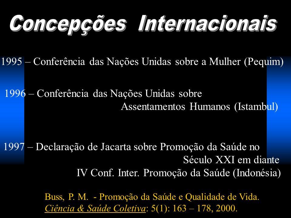 1995 – Conferência das Nações Unidas sobre a Mulher (Pequim) 1996 – Conferência das Nações Unidas sobre Assentamentos Humanos (Istambul) 1997 – Declar