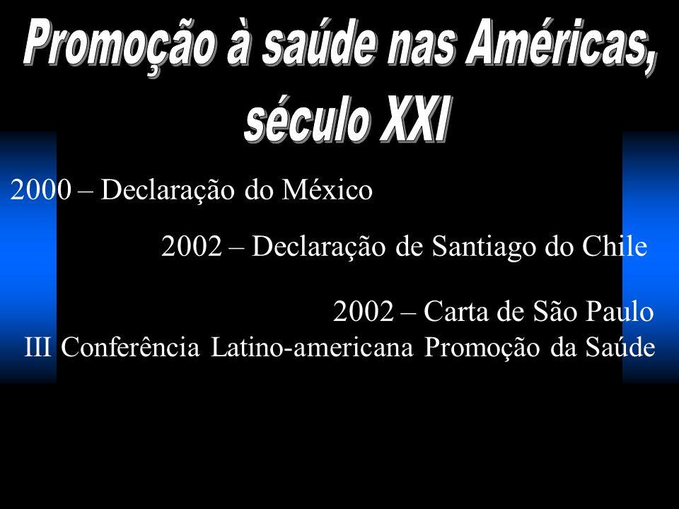 2000 – Declaração do México 2002 – Declaração de Santiago do Chile 2002 – Carta de São Paulo III Conferência Latino-americana Promoção da Saúde