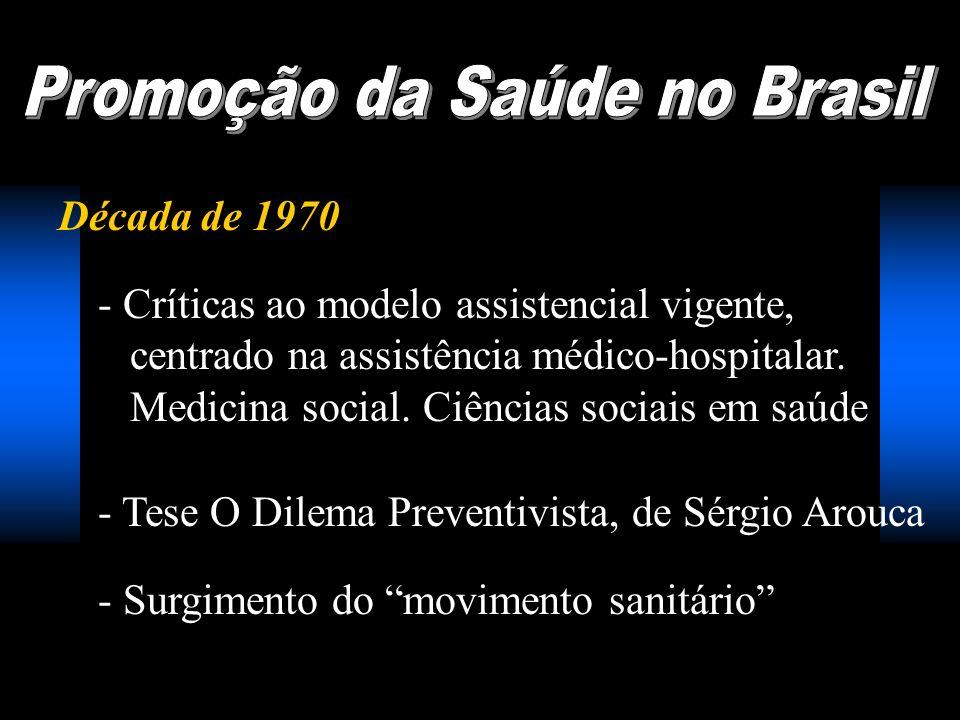 Década de 1970 - Críticas ao modelo assistencial vigente, centrado na assistência médico-hospitalar. Medicina social. Ciências sociais em saúde - Tese
