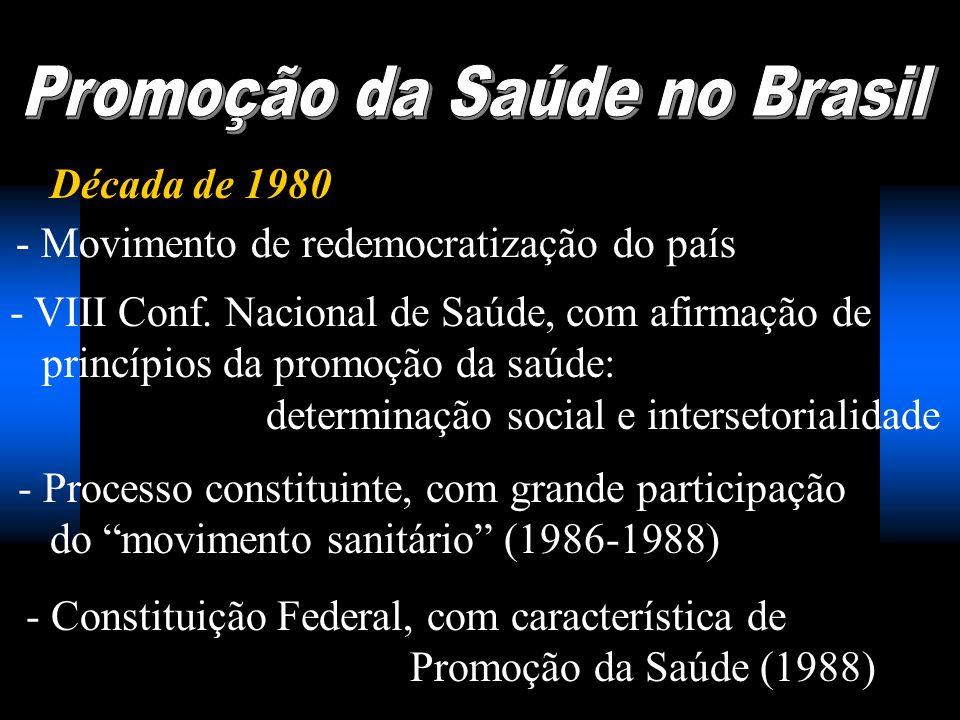 Década de 1980 - Movimento de redemocratização do país - VIII Conf. Nacional de Saúde, com afirmação de princípios da promoção da saúde: determinação