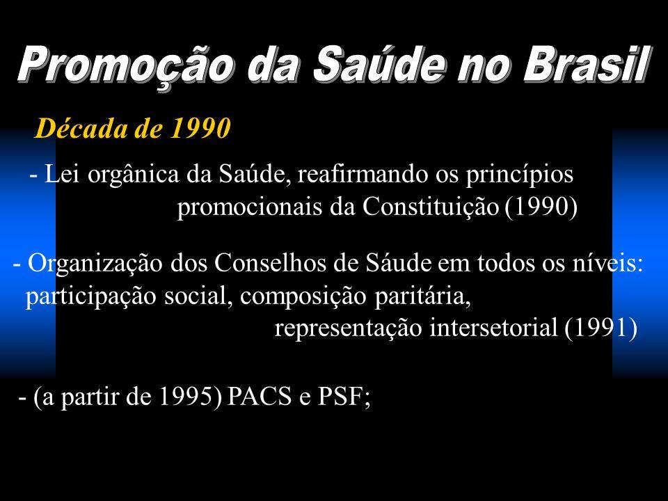 Década de 1990 - Lei orgânica da Saúde, reafirmando os princípios promocionais da Constituição (1990) - Organização dos Conselhos de Sáude em todos os