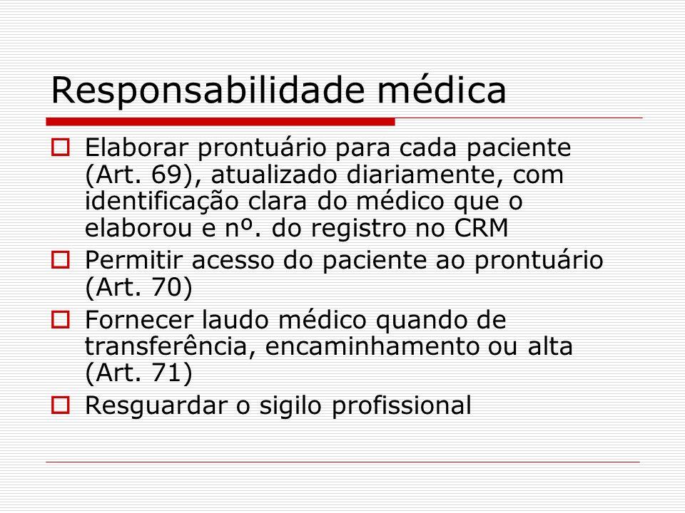 Responsabilidade médica Elaborar prontuário para cada paciente (Art. 69), atualizado diariamente, com identificação clara do médico que o elaborou e n