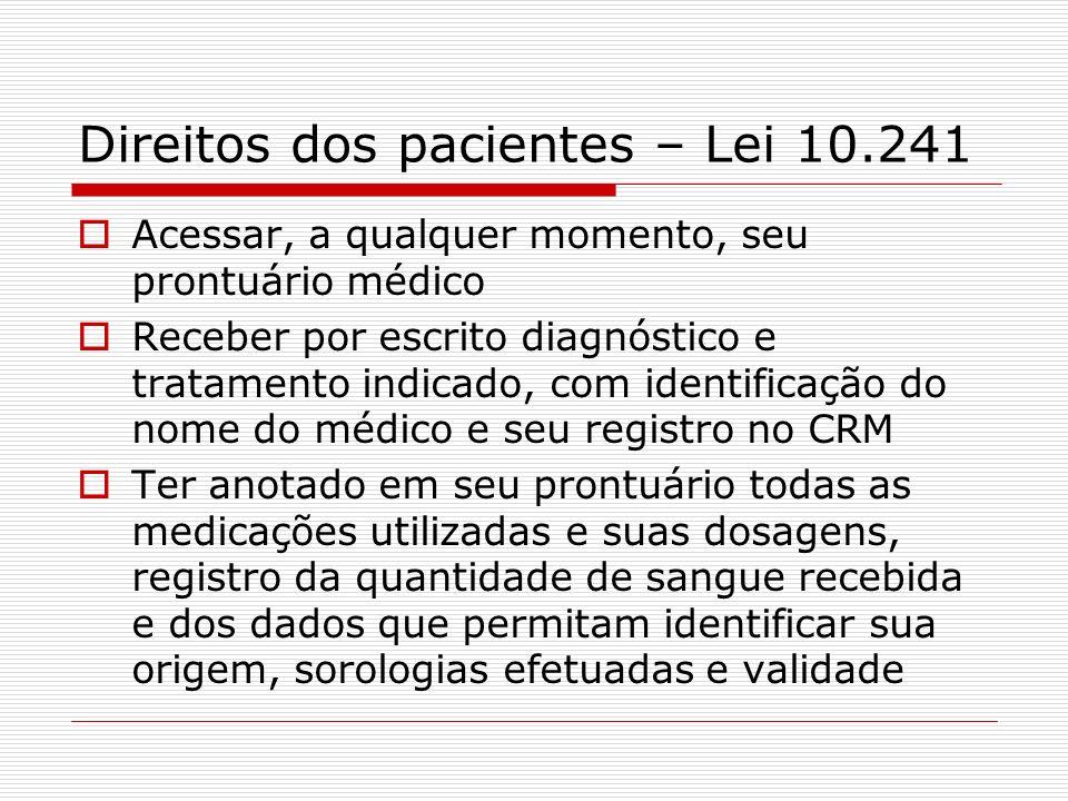 Direitos dos pacientes – Lei 10.241 Acessar, a qualquer momento, seu prontuário médico Receber por escrito diagnóstico e tratamento indicado, com iden