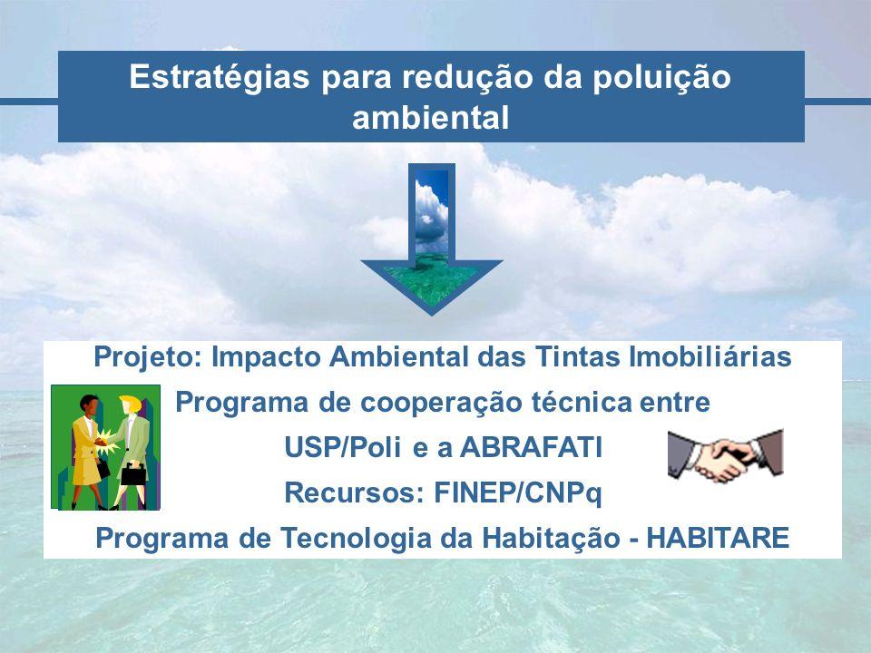 Estratégias para redução da poluição ambiental Projeto: Impacto Ambiental das Tintas Imobiliárias Programa de cooperação técnica entre USP/Poli e a AB