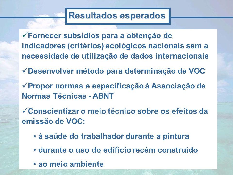 Fornecer subsídios para a obtenção de indicadores (critérios) ecológicos nacionais sem a necessidade de utilização de dados internacionais Desenvolver