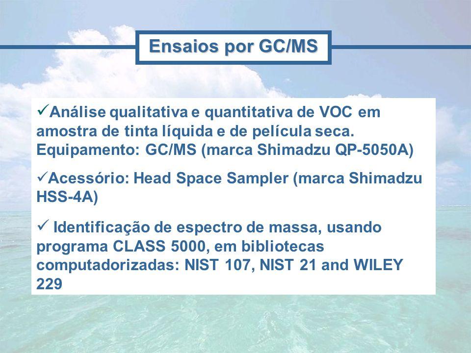 Análise qualitativa e quantitativa de VOC em amostra de tinta líquida e de película seca. Equipamento: GC/MS (marca Shimadzu QP-5050A) Acessório: Head