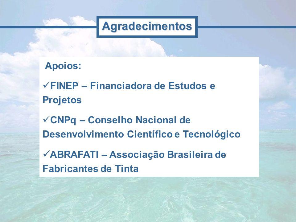 Apoios: FINEP – Financiadora de Estudos e Projetos CNPq – Conselho Nacional de Desenvolvimento Científico e Tecnológico ABRAFATI – Associação Brasilei