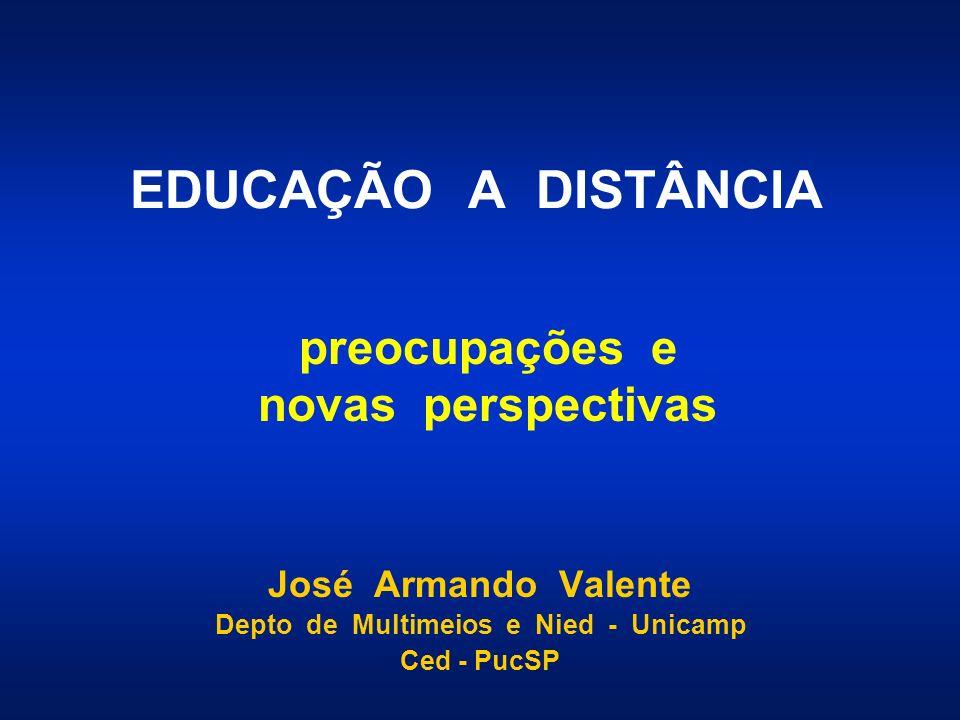 EDUCAÇÃO A DISTÂNCIA José Armando Valente Depto de Multimeios e Nied - Unicamp Ced - PucSP preocupações e novas perspectivas