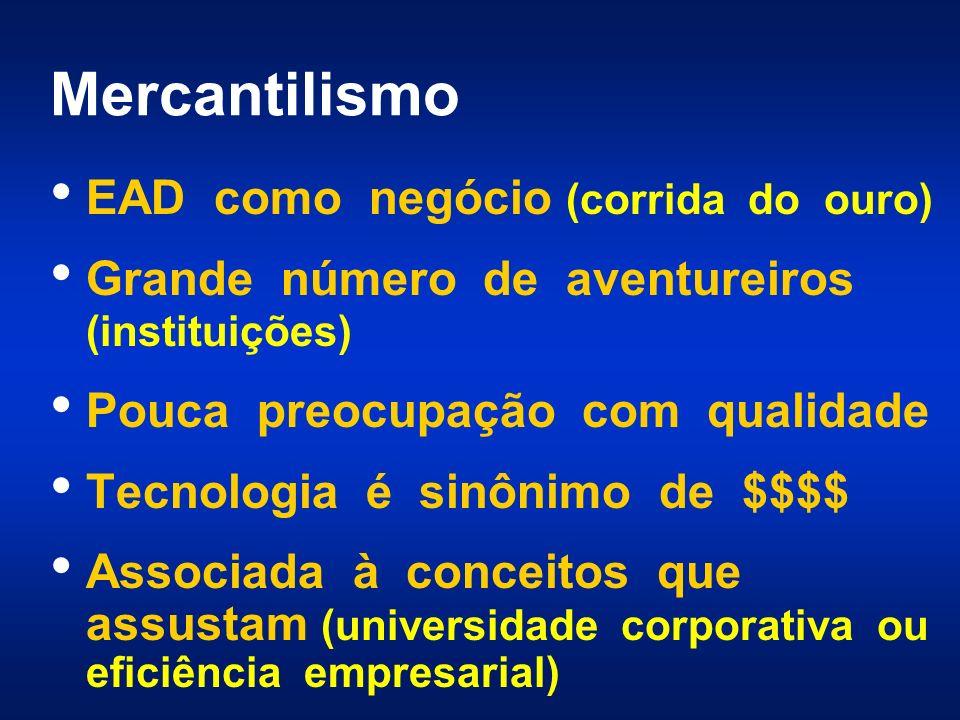 Mercantilismo EAD como negócio (corrida do ouro) Grande número de aventureiros (instituições) Pouca preocupação com qualidade Tecnologia é sinônimo de $$$$ Associada à conceitos que assustam (universidade corporativa ou eficiência empresarial)