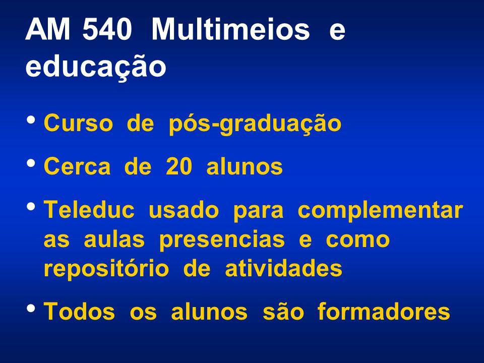 AM 540 Multimeios e educação Curso de pós-graduação Cerca de 20 alunos Teleduc usado para complementar as aulas presencias e como repositório de atividades Todos os alunos são formadores
