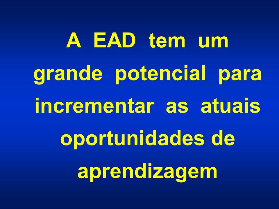 A EAD tem um grande potencial para incrementar as atuais oportunidades de aprendizagem