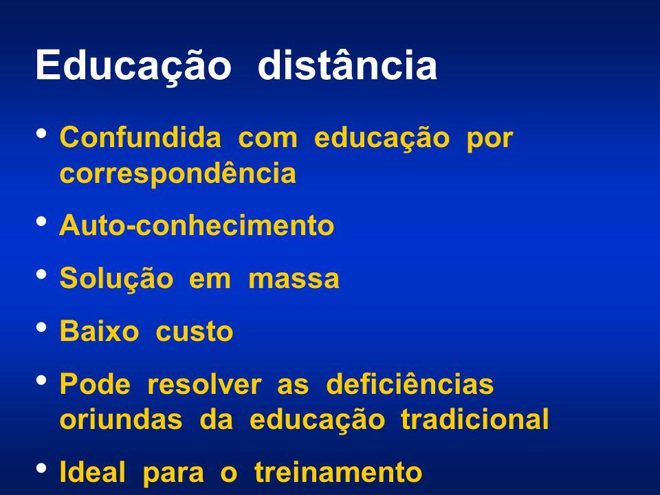 Educação distância Confundida com educação por correspondência Auto-conhecimento Solução em massa Baixo custo Pode resolver as deficiências oriundas d