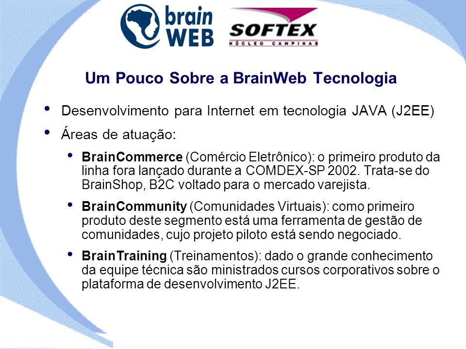 Um Pouco Sobre a BrainWeb Tecnologia Desenvolvimento para Internet em tecnologia JAVA (J2EE) Áreas de atuação: BrainCommerce (Comércio Eletrônico): o primeiro produto da linha fora lançado durante a COMDEX-SP 2002.