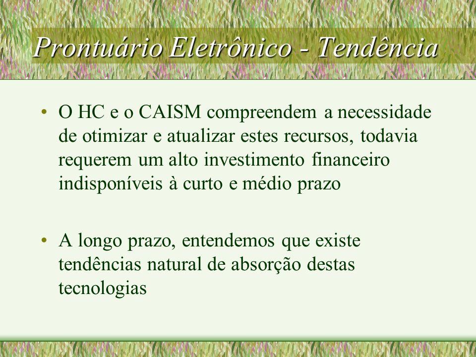 Prontuário Eletrônico - Tendência O HC e o CAISM compreendem a necessidade de otimizar e atualizar estes recursos, todavia requerem um alto investimen