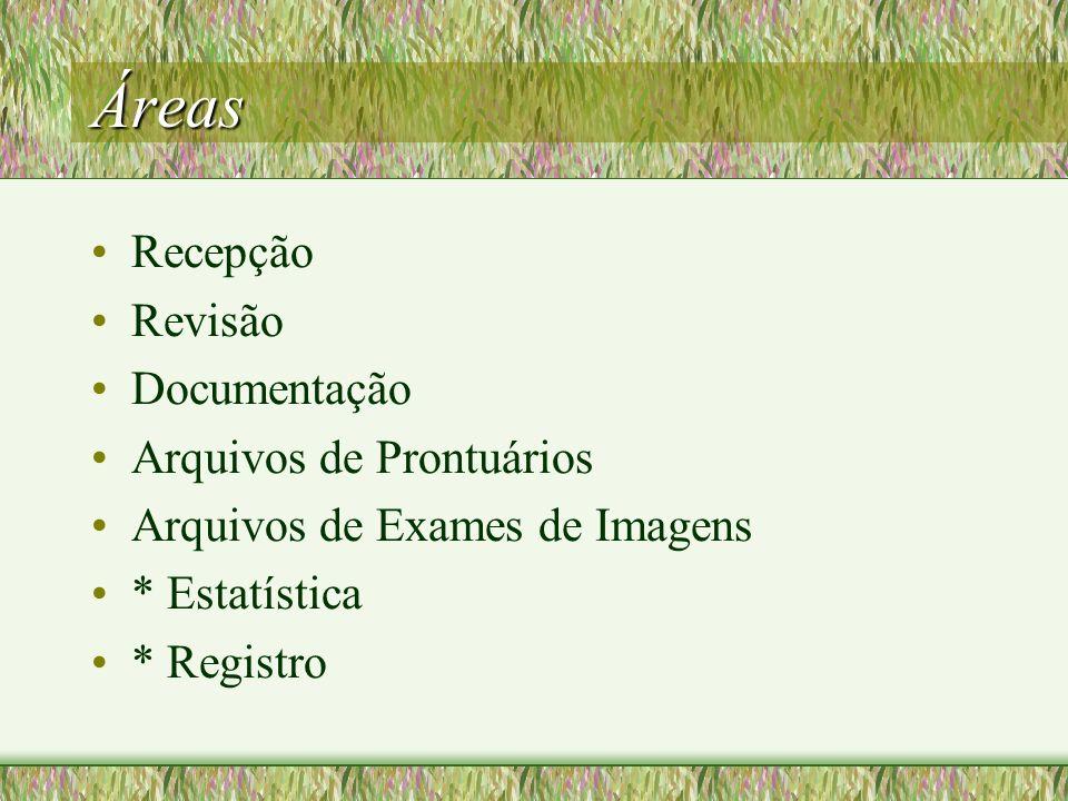 Áreas Recepção Revisão Documentação Arquivos de Prontuários Arquivos de Exames de Imagens * Estatística * Registro