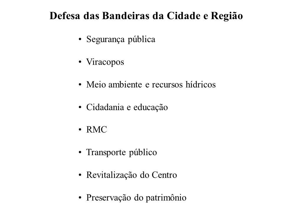 Defesa das Bandeiras da Cidade e Região Segurança pública Viracopos Meio ambiente e recursos hídricos Cidadania e educação RMC Transporte público Revitalização do Centro Preservação do patrimônio