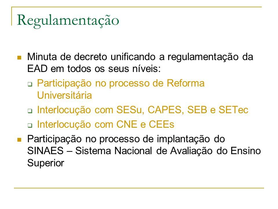Pró-Licenciatura O Governo Brasileiro está fomentando projetos de oferta de licenciatura a distância 2004-2005: 18.500 vagas novas Exclusivamente a professores em exercício nas escolas públicas: 2005 a 2009: 30.000 vagas novas por ano Conseqüência: infraestrutura e logística para EAD nas universidades – revisão orçamentária