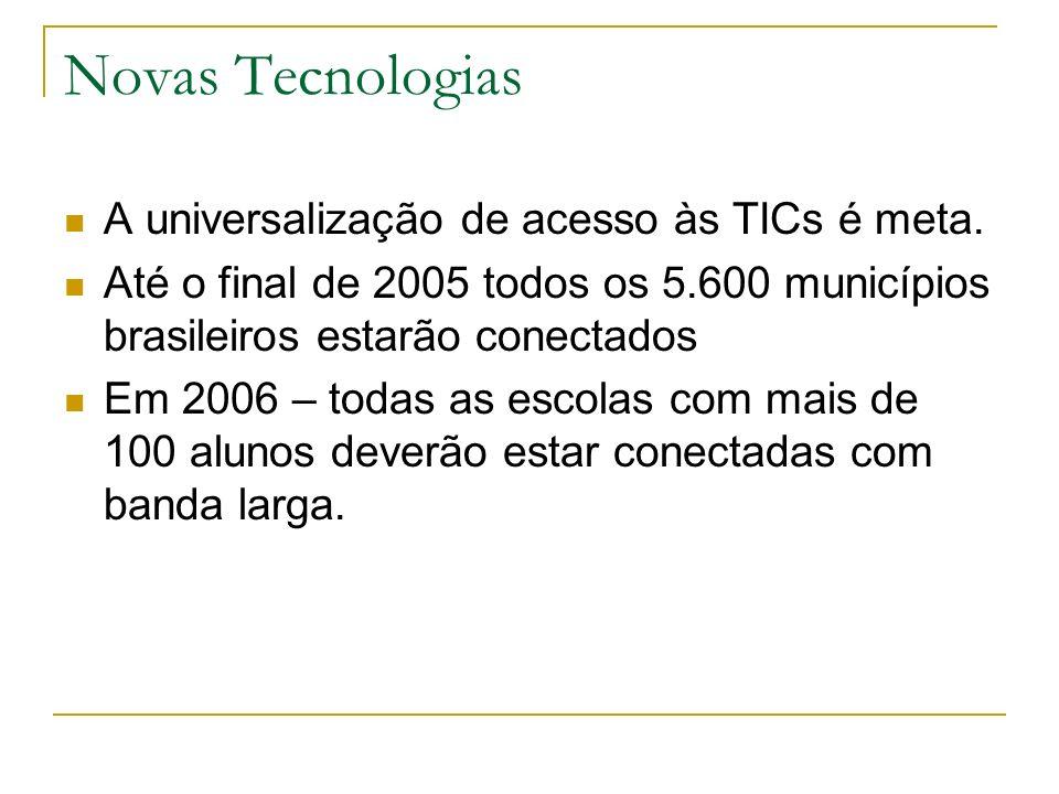 Novas Tecnologias A universalização de acesso às TICs é meta. Até o final de 2005 todos os 5.600 municípios brasileiros estarão conectados Em 2006 – t
