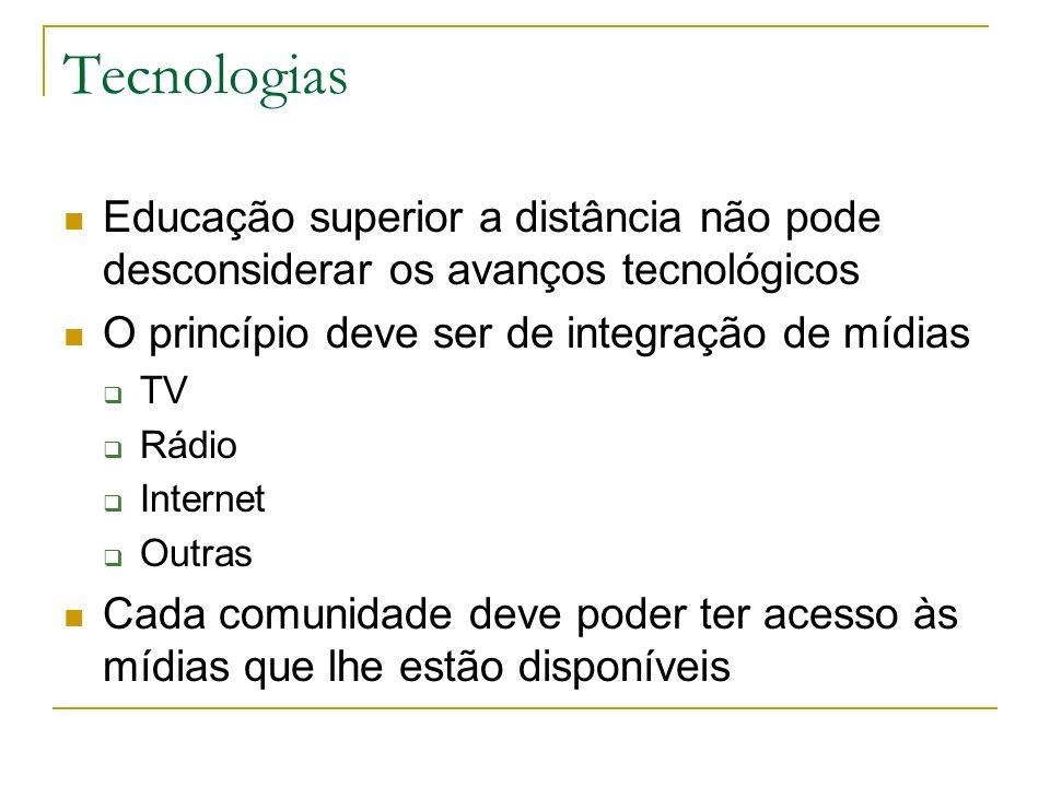Tecnologias Educação superior a distância não pode desconsiderar os avanços tecnológicos O princípio deve ser de integração de mídias TV Rádio Interne
