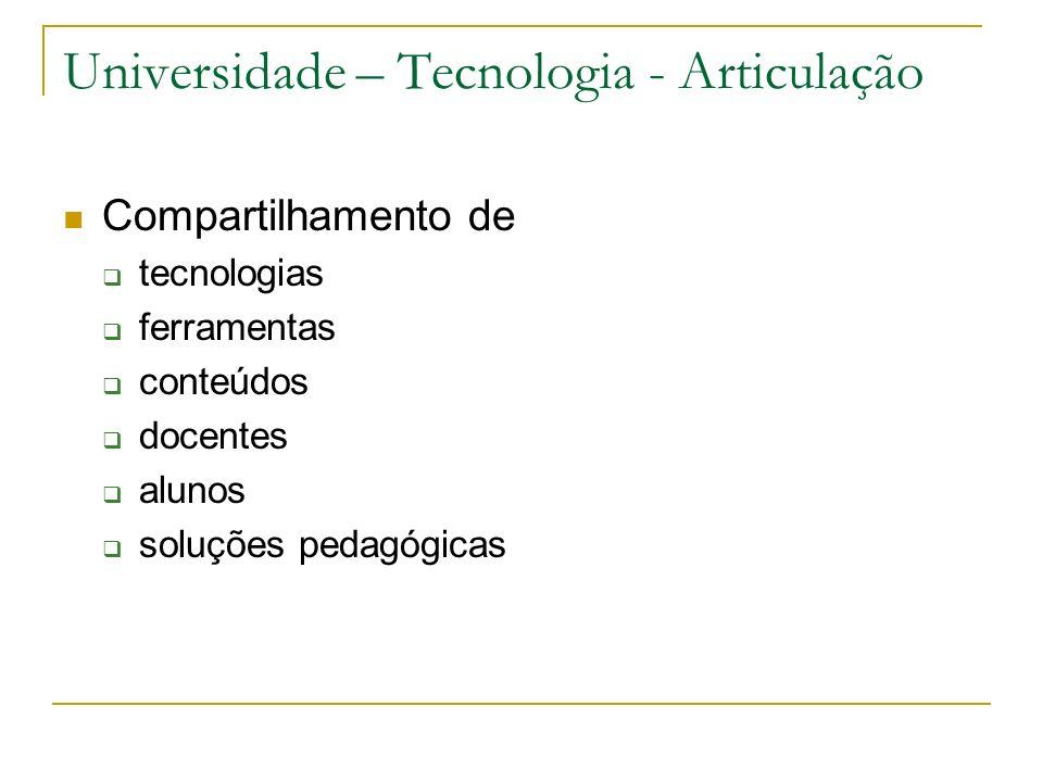 Universidade – Tecnologia - Articulação Compartilhamento de tecnologias ferramentas conteúdos docentes alunos soluções pedagógicas