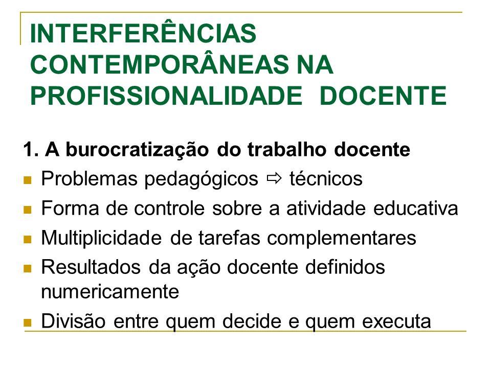 INTERFERÊNCIAS CONTEMPORÂNEAS NA PROFISSIONALIDADE DOCENTE 1. A burocratização do trabalho docente Problemas pedagógicos técnicos Forma de controle so