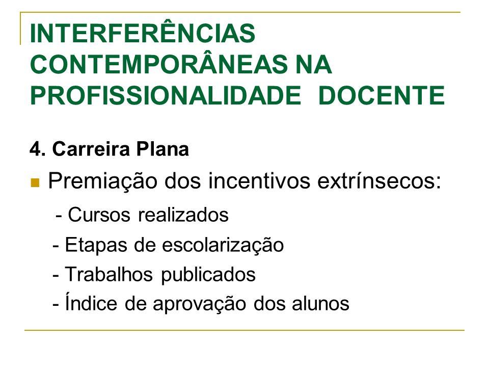 INTERFERÊNCIAS CONTEMPORÂNEAS NA PROFISSIONALIDADE DOCENTE 4. Carreira Plana Premiação dos incentivos extrínsecos: - Cursos realizados - Etapas de esc