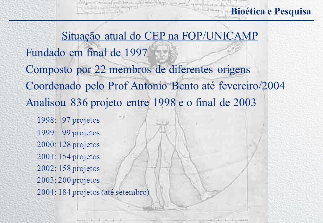 Bioética e Pesquisa Situação atual do CEP na FOP/UNICAMP Fundado em final de 1997 Composto por 22 membros de diferentes origens Coordenado pelo Prof A
