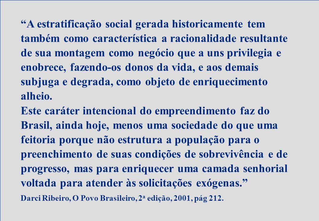 Bioética e Pesquisa A estratificação social gerada historicamente tem também como característica a racionalidade resultante de sua montagem como negóc