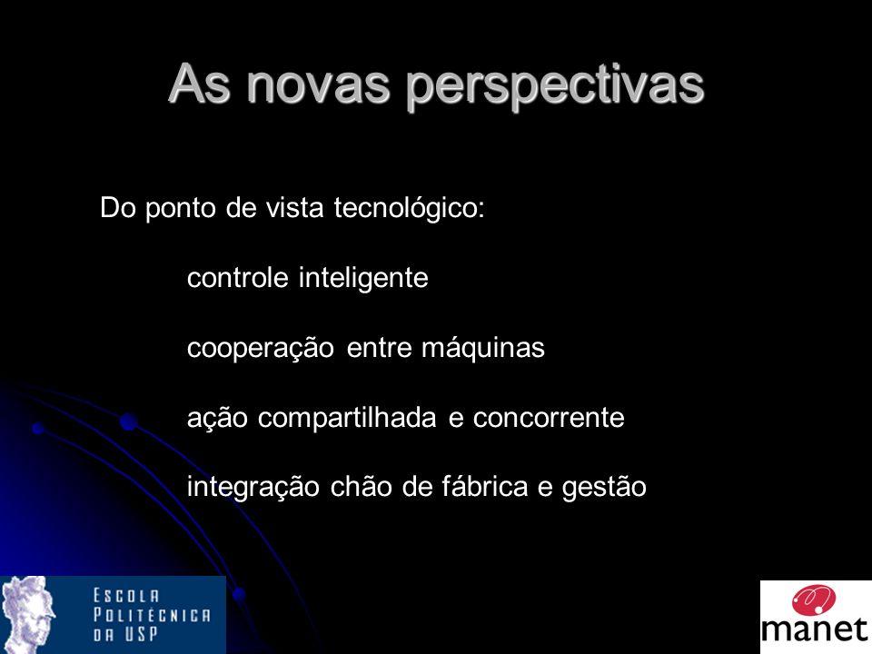As novas perspectivas Do ponto de vista tecnológico: controle inteligente cooperação entre máquinas ação compartilhada e concorrente integração chão de fábrica e gestão