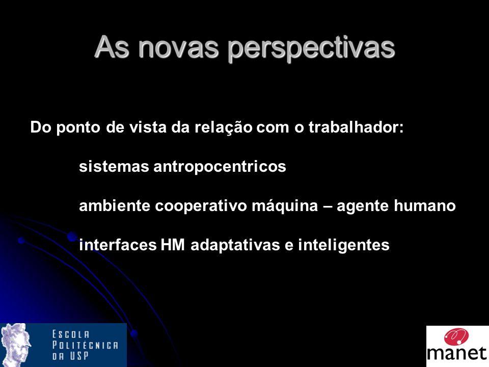 As novas perspectivas Do ponto de vista da relação com o trabalhador: sistemas antropocentricos ambiente cooperativo máquina – agente humano interfaces HM adaptativas e inteligentes