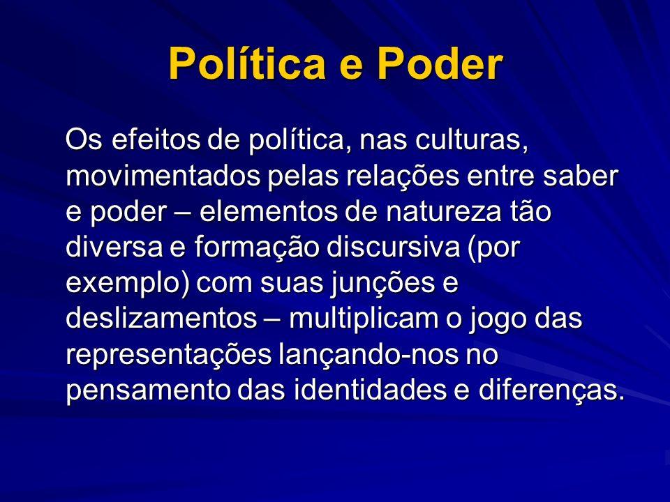 Política e Poder Os efeitos de política, nas culturas, movimentados pelas relações entre saber e poder – elementos de natureza tão diversa e formação