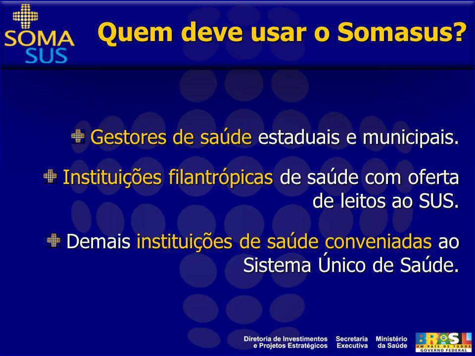 Por que foi criado o Somasus? A Diretoria de Investimentos e Projetos Estratégicos – Dipe (Secretaria Executiva / Ministério da Saúde) criou o Somasus