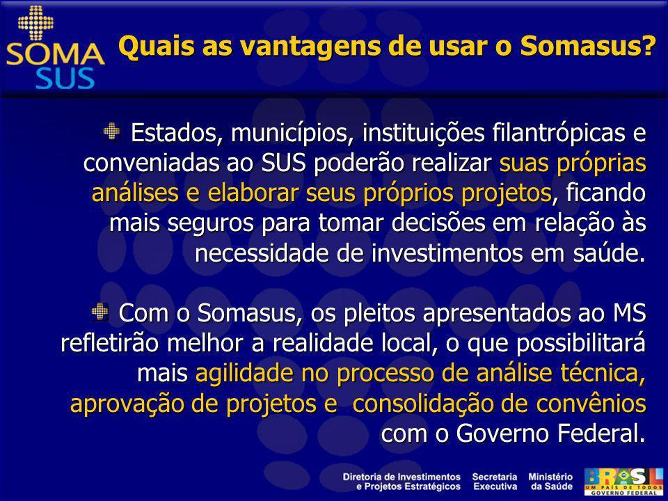 O que o Somasus pode oferecer? Informações estratégicas como, população, tipo de gestão, tipos de serviços existentes. Tipos e quantidades de equipame