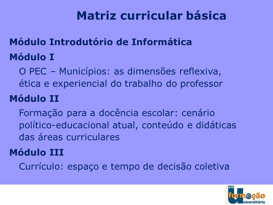 Matriz curricular básica Módulo Introdutório de Informática Módulo I O PEC – Municípios: as dimensões reflexiva, ética e experiencial do trabalho do p