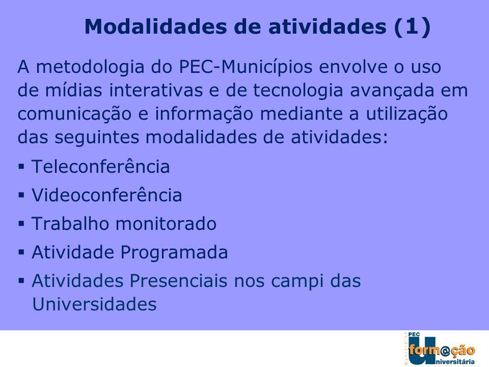 A metodologia do PEC-Municípios envolve o uso de mídias interativas e de tecnologia avançada em comunicação e informação mediante a utilização das seg