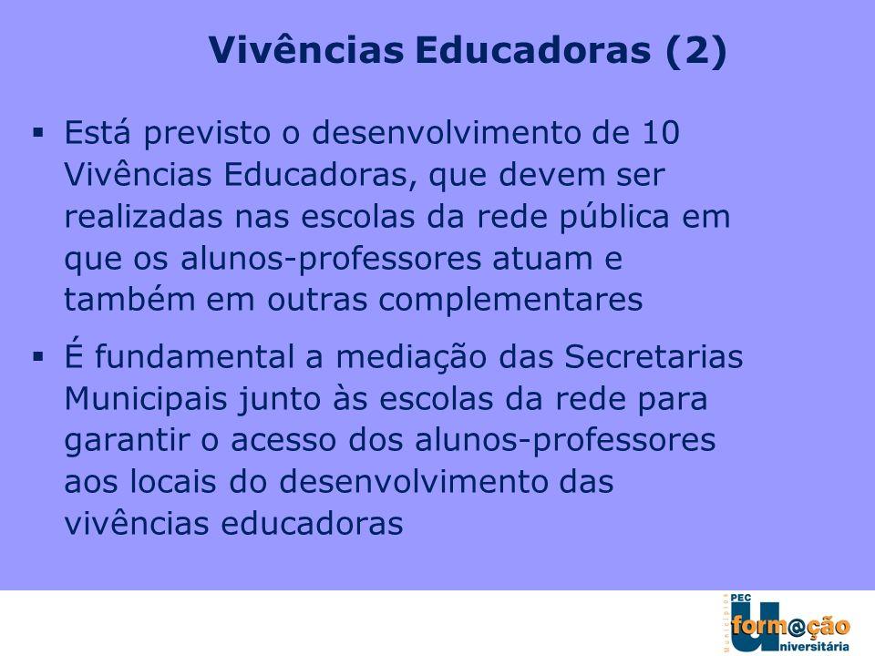 Vivências Educadoras (2) Está previsto o desenvolvimento de 10 Vivências Educadoras, que devem ser realizadas nas escolas da rede pública em que os al