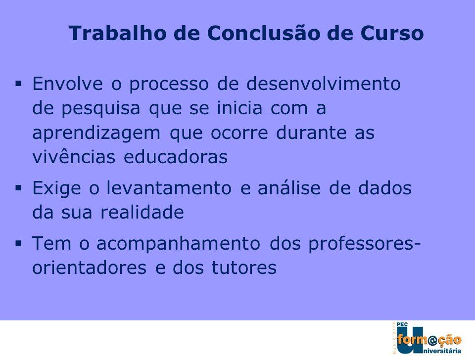 Trabalho de Conclusão de Curso Envolve o processo de desenvolvimento de pesquisa que se inicia com a aprendizagem que ocorre durante as vivências educ