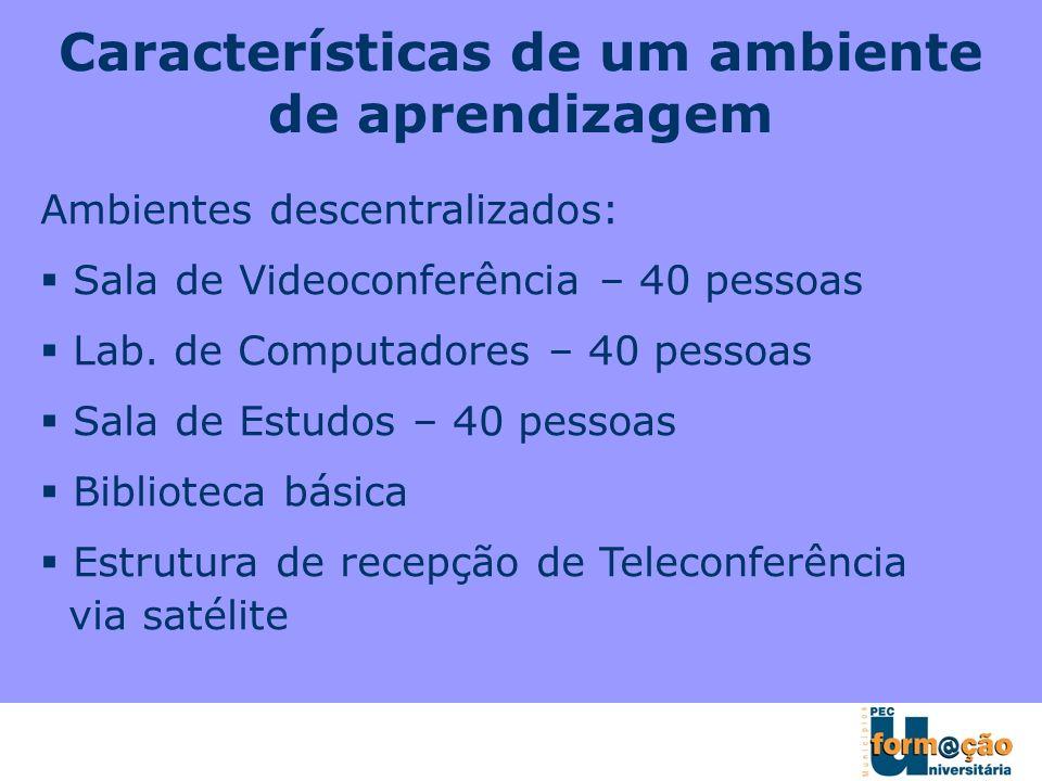 Características de um ambiente de aprendizagem Ambientes descentralizados: Sala de Videoconferência – 40 pessoas Lab. de Computadores – 40 pessoas Sal