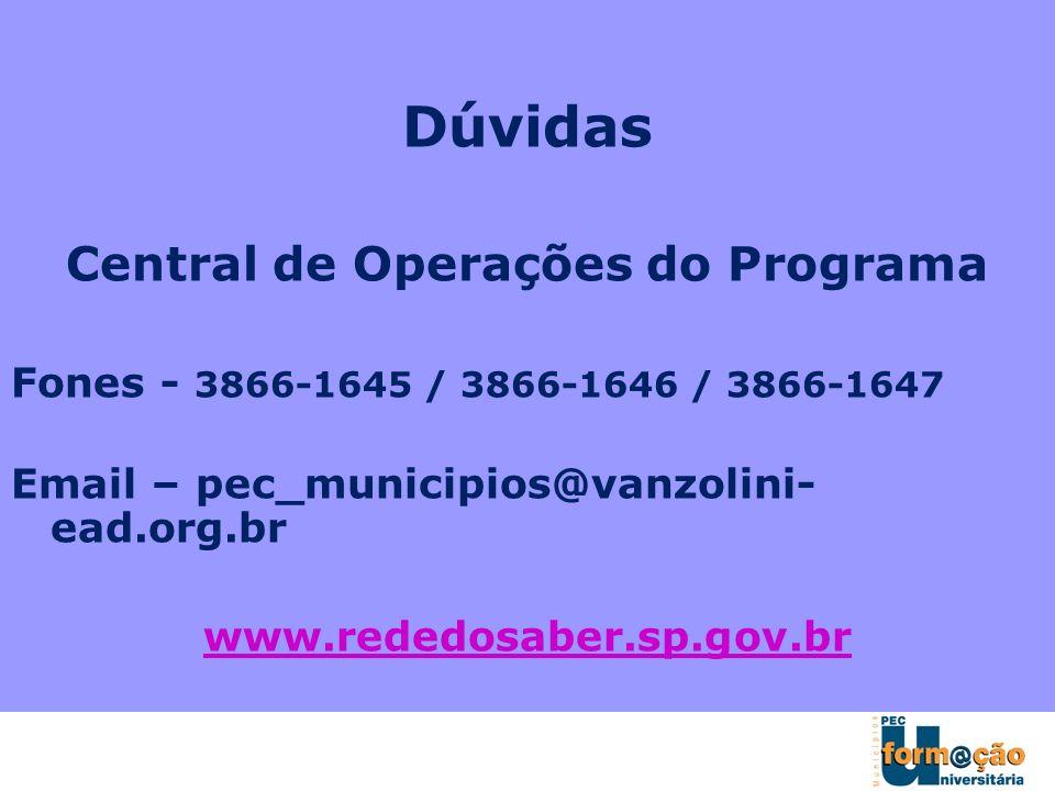 Dúvidas Central de Operações do Programa Fones - 3866-1645 / 3866-1646 / 3866-1647 Email – pec_municipios@vanzolini- ead.org.br www.rededosaber.sp.gov