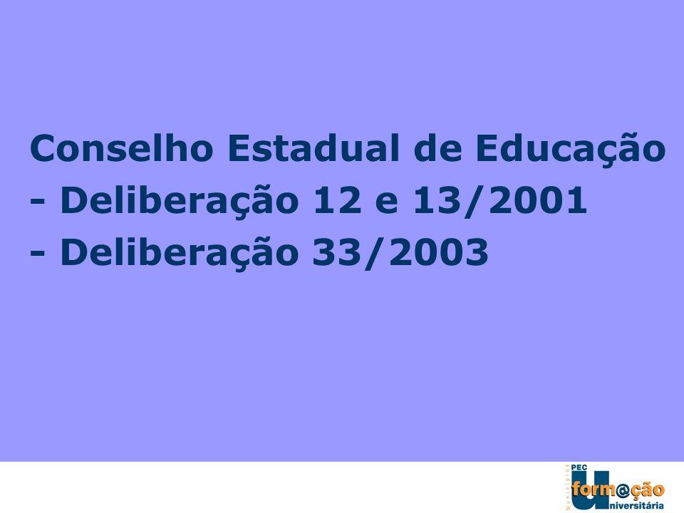 Conselho Estadual de Educação - Deliberação 12 e 13/2001 - Deliberação 33/2003