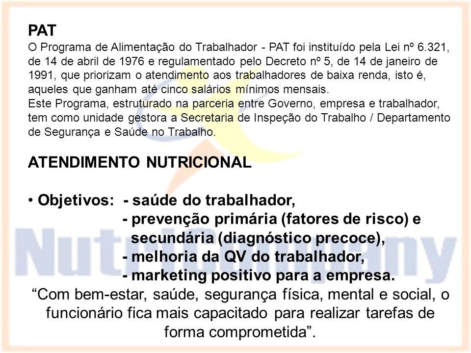 PAT O Programa de Alimentação do Trabalhador - PAT foi instituído pela Lei nº 6.321, de 14 de abril de 1976 e regulamentado pelo Decreto nº 5, de 14 d