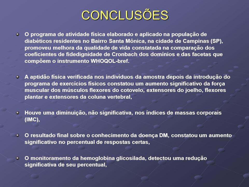 CONCLUSÕES O programa de atividade física elaborado e aplicado na população de diabéticos residentes no Bairro Santa Mônica, na cidade de Campinas (SP