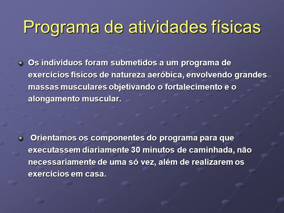 Programa de atividades físicas Os indivíduos foram submetidos a um programa de exercícios físicos de natureza aeróbica, envolvendo grandes massas musc