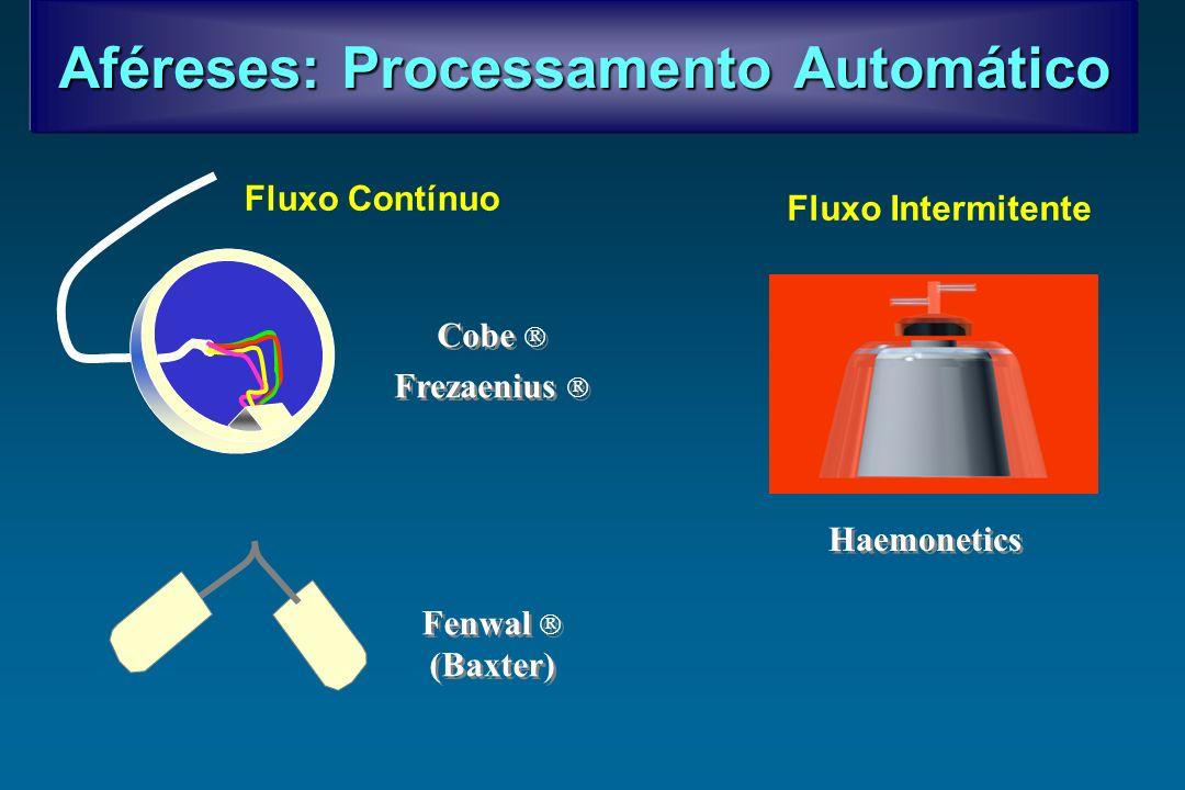 Aféreses: Processamento Automático Fluxo Contínuo Fluxo Intermitente Cobe Frezaenius Fenwal (Baxter) Fenwal (Baxter) Haemonetics