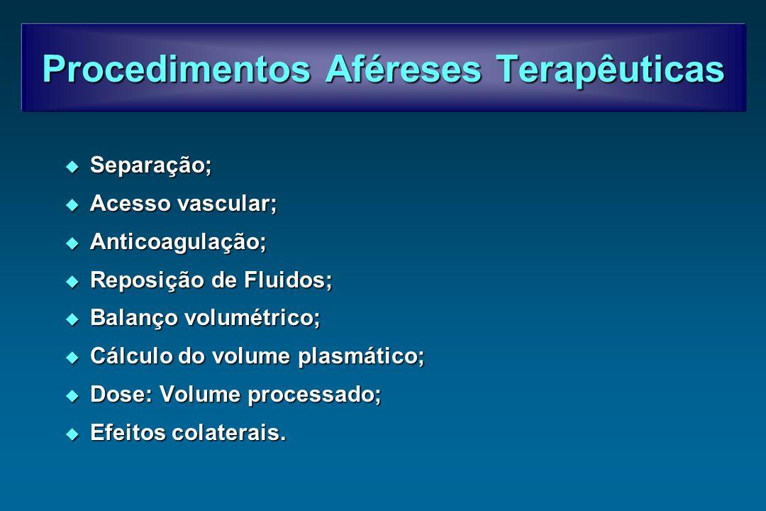 Procedimentos Aféreses Terapêuticas Separação; Separação; Acesso vascular; Acesso vascular; Anticoagulação; Anticoagulação; Reposição de Fluidos; Repo